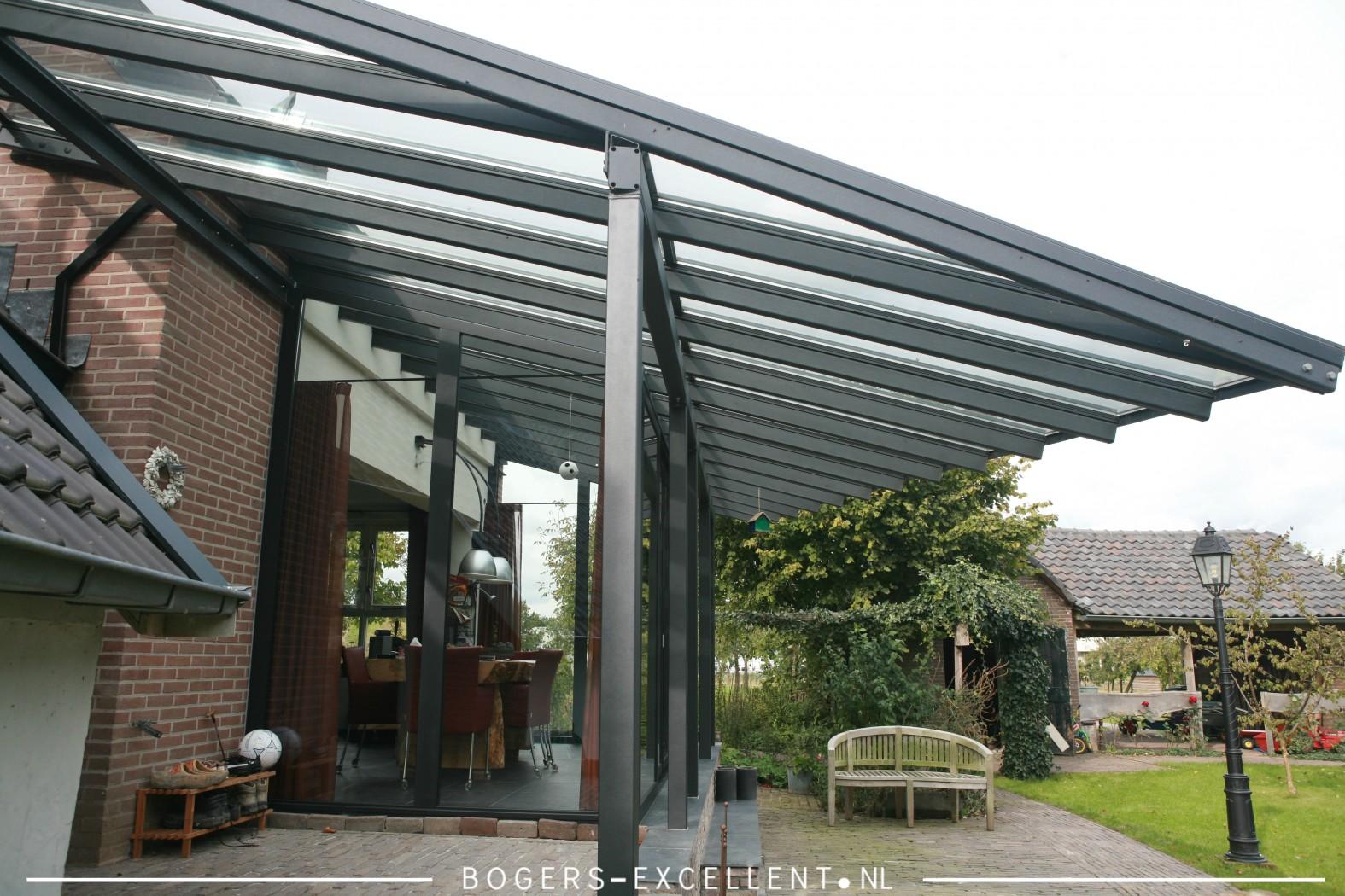 Montage glass line serre met overstek veranda bogers - Serre verande ...